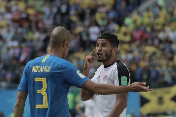 Johan Venegas fue uno de los atacantes titulares de Costa Rica ante Brasil. Fotografía de Damián Aroyo