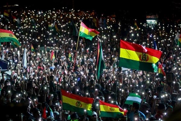 Nueva concentración este 2 de noviembre en la ciudad de Santa Cruz en protesta por la reelección de Evo Morales. Foto: AFP.