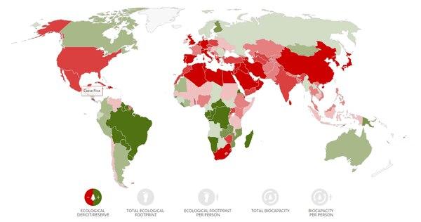 En el mapa se pueden observar en color rojo los países que se encuentran en déficit y en verde los que cuentan con un superávit, de su huella ecológica. Foto: Global Footprint Network