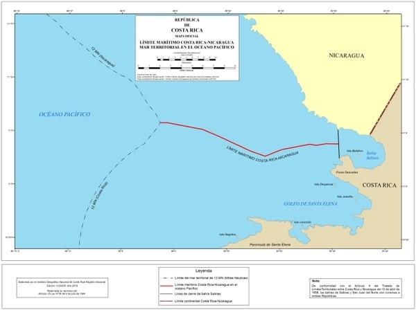 El nuevo mapa oficial para el mar territorial costarricense en el Pacífico. Cartografía elaborada por el Instituto Geográfico Nacional.