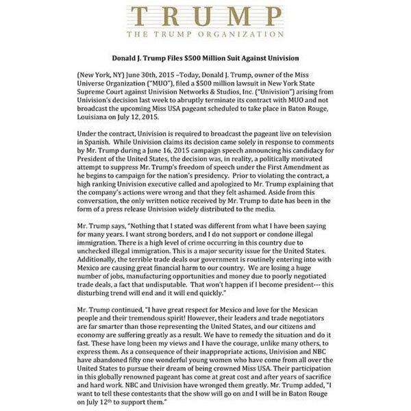 Este es el comunicado que Trump compartió en sus redes sociales.
