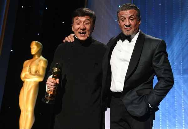 Jackie Chan junto a Sylvester Stallone.