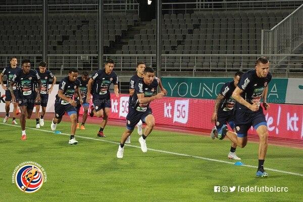 La Selección Nacional realizó el reconocimiento de cancha del estadio Goyang, donde enfrentará este viernes a Corea del Sur, en el primer juego amistoso tras el Mundial de Rusia 2018. Fotografía tomada de la Fedefútbol.