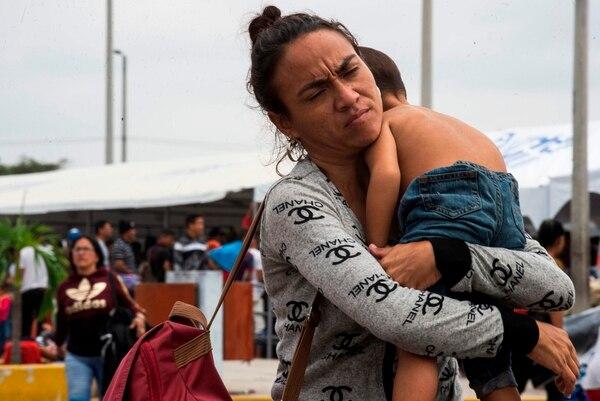 Esta venezolana y su hijo llegaron el viernes 14 de junio del 2019 al puesto de atención de refugiados en Tumbes.
