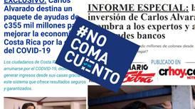 #NoComaCuento: Publicaciones falsas utilizan imagen de Carlos Alvarado y 'La Nación' para estafar con bitcoins