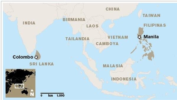 Mapa de ubicación de Sri Lanka.