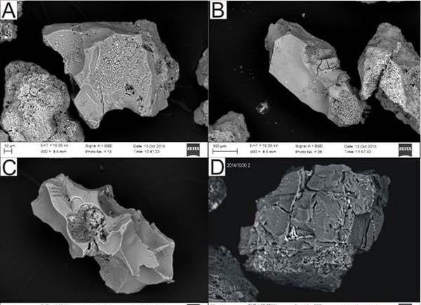 Granos de ceniza del Turrialba bajo el microscopio   RSN PARA GN.