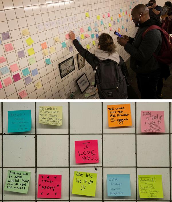 Alguien escribió en uno de los papelitos dentro del metro que se sentía como