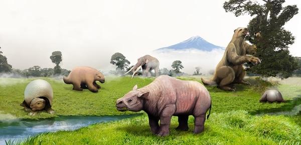 """Entre el 2015 y el 2016, el Museo Nacional de Costa Rica tuvo la exposición """"Megafauna- fósiles de Costa Rica"""". Allí se exhibió esta imagen acerca de la megafauna en su ambiente durante el Pleistoceno, en la que se observan (de izquierda a derecha) el gliptodonte, milodonte, toxodonte, mastodonte, perezoso gigante y un armadillo. La ilustración es de Franklin Rodríguez Poveda."""