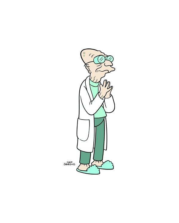 El profesor Hubert J. Farnsworth es considerado como el verdadero genio, aunque un poco torpe, por el resto de la tripulación de la nave. Fue capaz de clonarse para tener a alguien que ocupara su lugar cuando muriera. Fotografía: Fox para La Nación