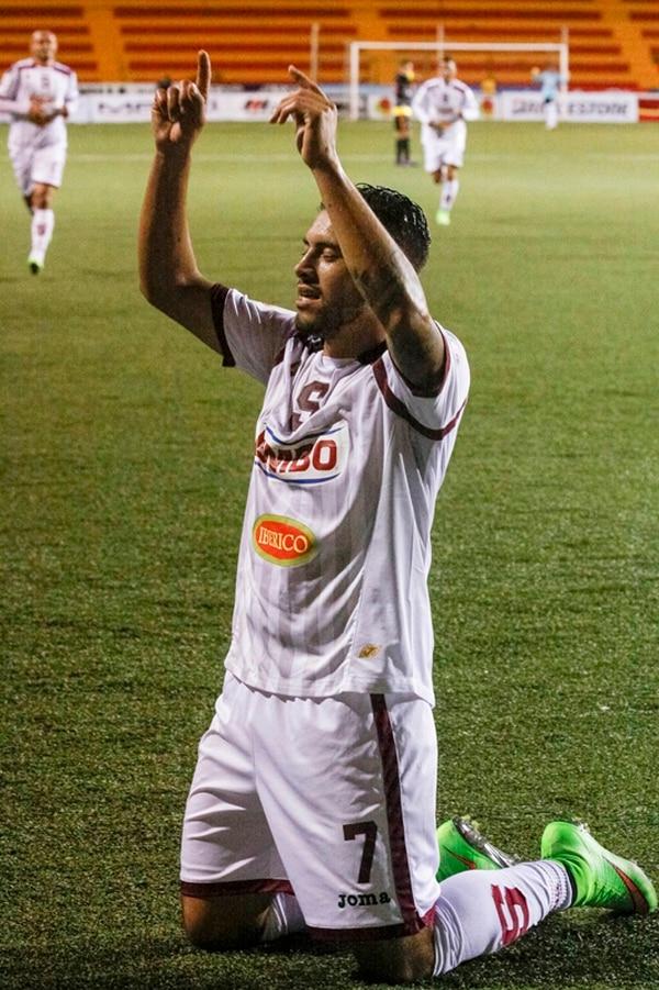 Ramírez celebra un gol ante Belén en octubre pasado.   JORGE ARCE
