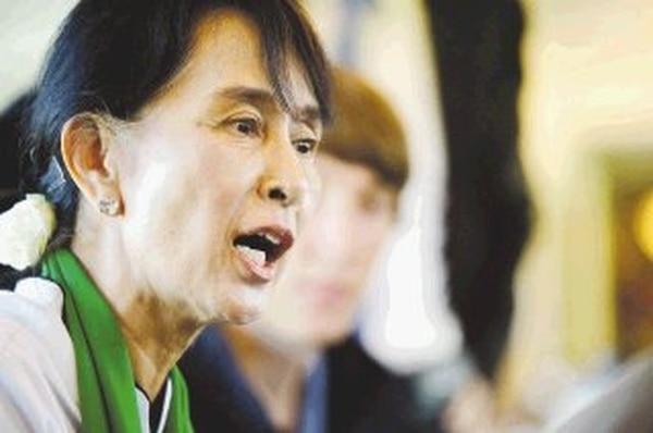 Aun San Suu Kyi ayer en la sede de la ONU en Ginebra.   AFP