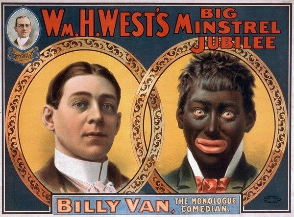 Un poster que anuncia un show de 1900 donde un actor 'se transforma' en una persona negra sobre el escenario. Imagen: Wikimedia Commons.