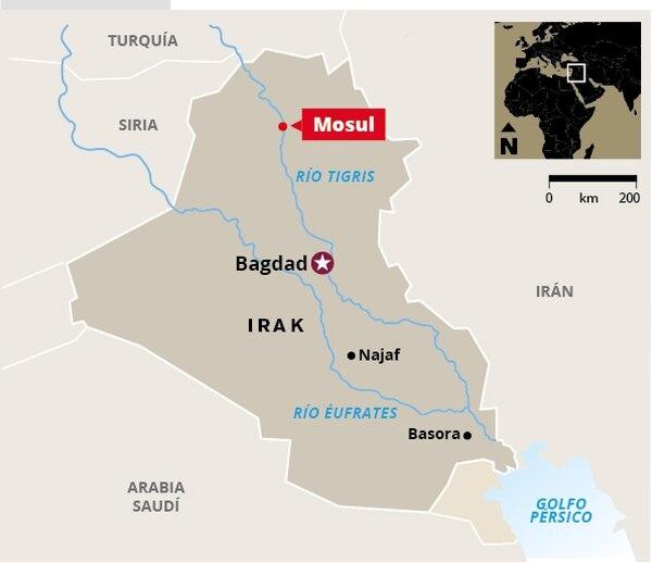 Mapa de ubicación, Mosul.