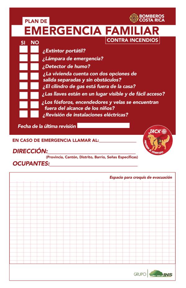 Bomberos de Costa Rica suministró esta guía práctica para que las familias se ayuden a crear planes de emergencia que aplicar en caso de incendios o sismos. / Bomberos de Costa Rica para LN.