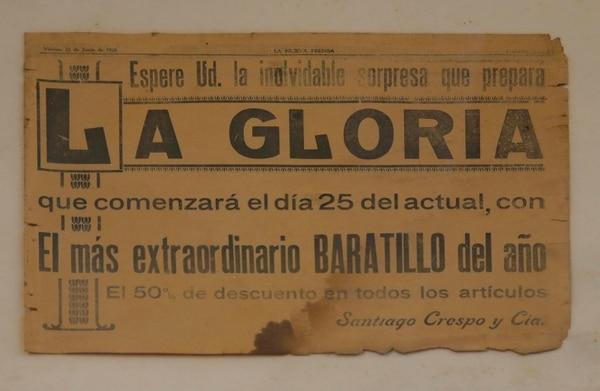 Anuncio de La Gloria de 1928 en el diario La Nueva Prensa. Fotos: Mayela López