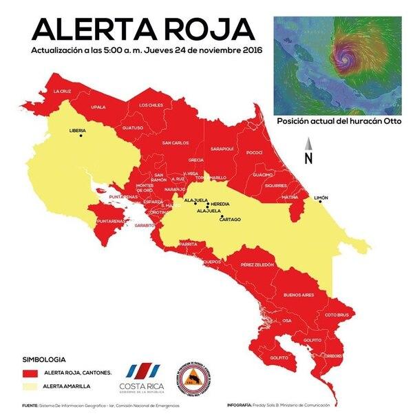 Mapa de alertas rojas actualizado a las 5:00 a. m. del jueves 24 de noviembre.