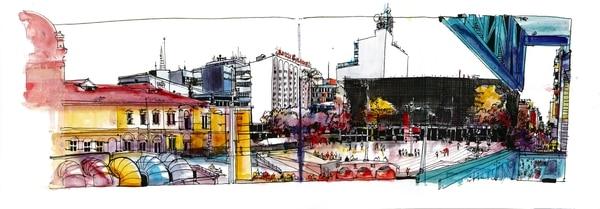 Obra de William Cordero, de Urban Sketchers. Realizada con acuarela y tinta sobre papel.