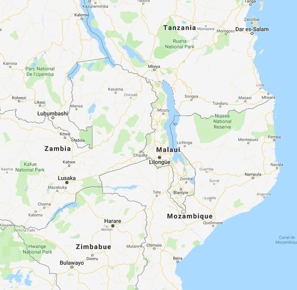Mapa de Malaui.