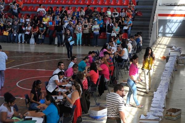 Para este curso lectivo, el Servicio Civil nombró en propiedad a 5.700 docentes que se enlistaron (en la foto), de los cuales 1.000 renunciaron a la plaza. La planilla del MEP supera las 70.000 personas. | ARCHIVO / JORGE NAVARRO
