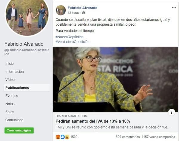 Fabricio Alvarado, Albino Vargas y Francisco Prendas reprodujeron la noticia falsa en sus redes sociales.