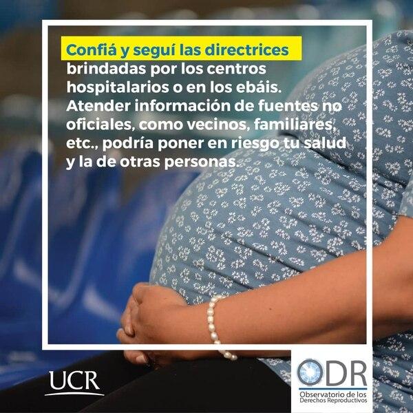 Esta es parte de la campaña del Observatorio de los Derechos Reproductivos de la UCR para embarazadas que tienen contacto cercano con una persona positiva por covid-19. Fotografía: UCR