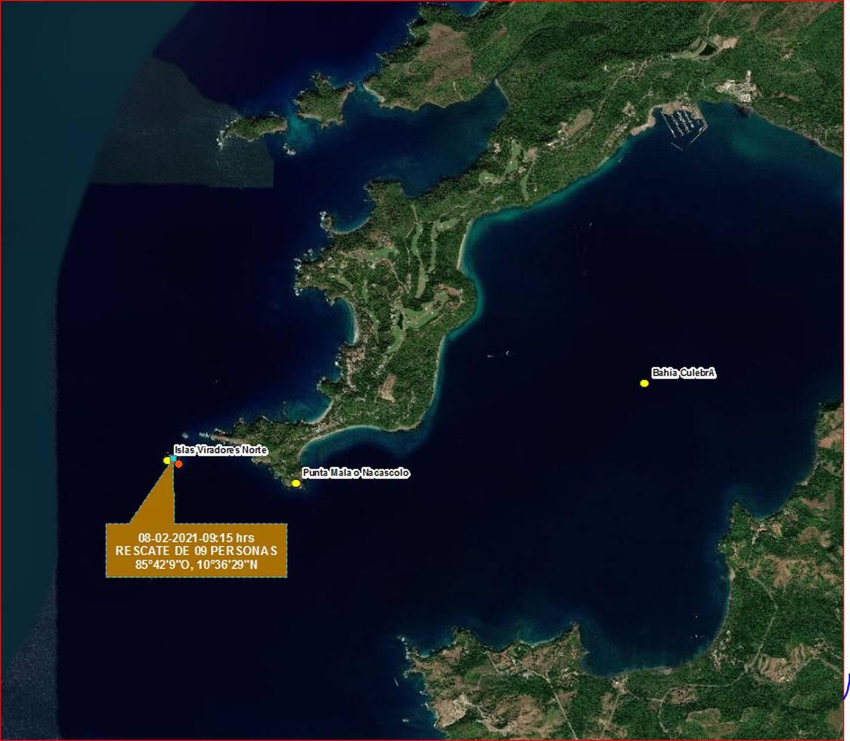 Después de atravesar  frente a bahía Culebra, sobrevino el vuelco debido al oleaje y el viento. Imagen: Cortessía SNG.