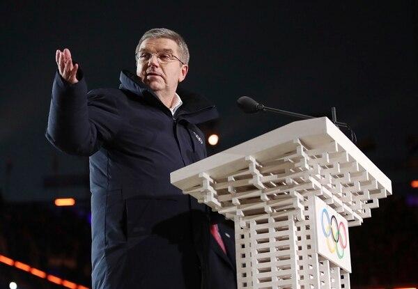 Thomas Bach, presidente del Comité Olímpico Internacional, habla durante la ceremonia de inauguración de los Juegos Olímpicos de Invierno de 2018 en Pyeongchang, Corea del Sur, el viernes 9 de febrero de 2018.