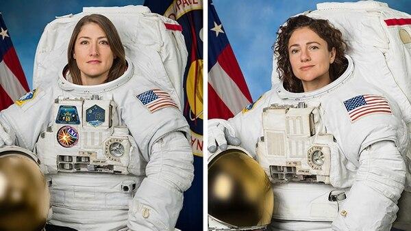 De izquierda a derecha, las astronautas Christina Koch y Jessica Meir. Foto AFP/NASA.