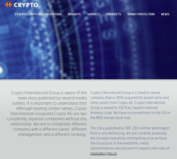 Mensaje de Crypto Internacional en su sitio web, tras las revelaciones del Washington Post.