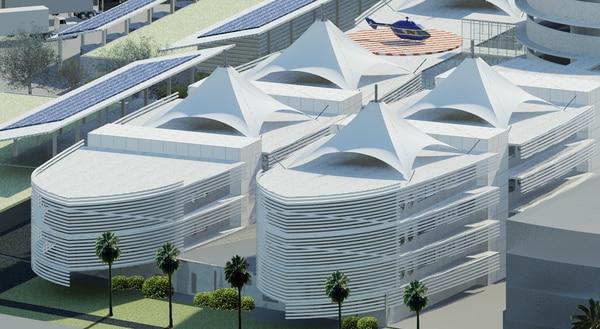El nuevo edificio tendrá 70.000 metros cuadrados de construcción con 64 consultorios, 12 quirófanos, y 350 camas. Foto: CCSS para LN