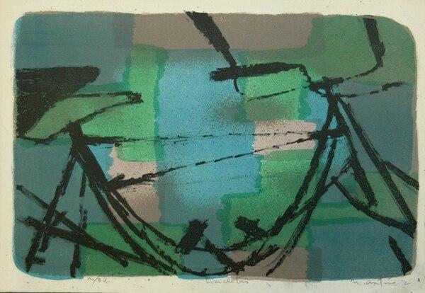 'Bicicletas' es una litografía policroma de 25 x 37 centímetros; se ejecutó en 1960. Imagen: Mariandrea García para LN.