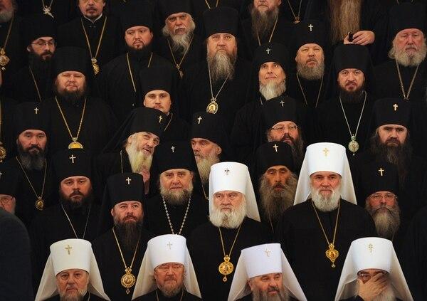 Asamblea de los jerarcas de la Iglesia ortodoxa rusa en el Kremlin.   AFP