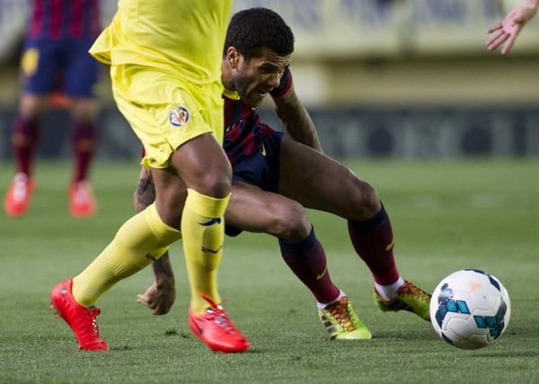 Dani Alves en el encuentro del Barcelona ante el Villarreal.