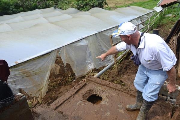 El agricultor Édgar Zamora mostró lo que era una plantación de fresas, la cual fue destruida por una cabeza de agua.   SHIRLEY VÁSQUEZ