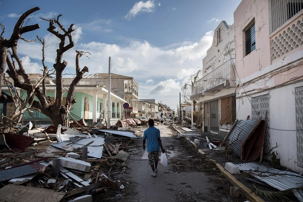 La isla de San Martín quedó muy golpeada luego del paso de Irma