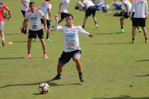 Atacante Ariel Rodríguez en su entreno de este viernes en la Selección Nacional.