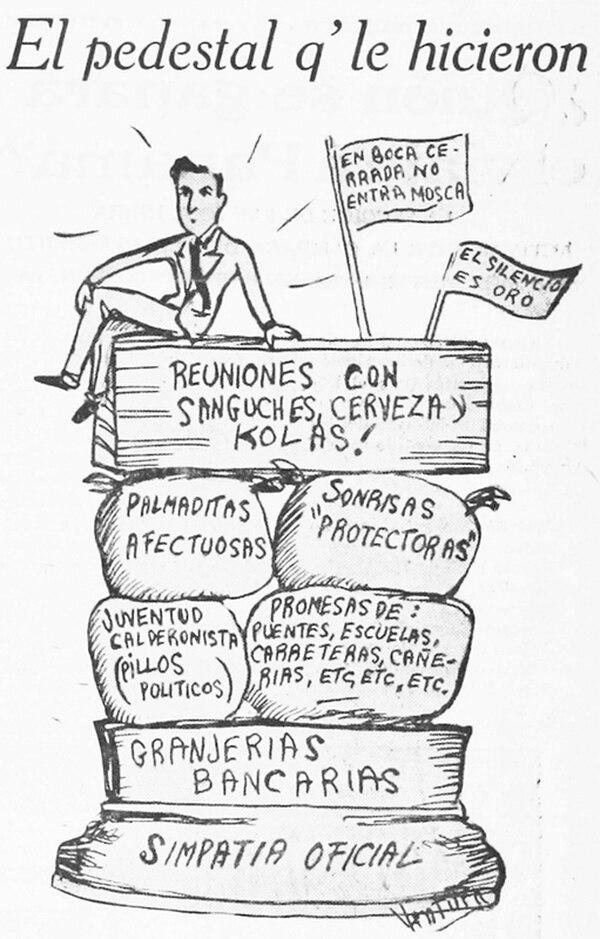 Caricatura que ilustra las críticas formuladas por los comunistas contra Calderón Guardia. Periódico 'Trabajo', 20 de mayo de 1939, p. 1. Imagen: Wikicommons.