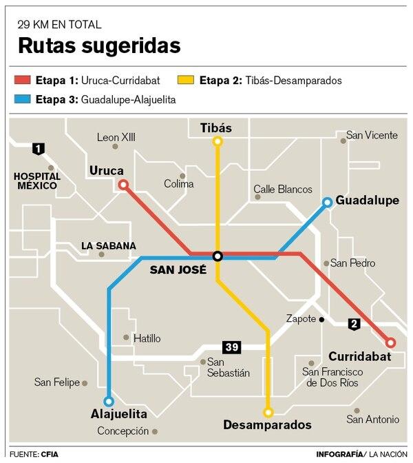 Rutas sugeridas para el metro de San José, según el estudio del Colegio Federado de Ingenieros y Arquitectos