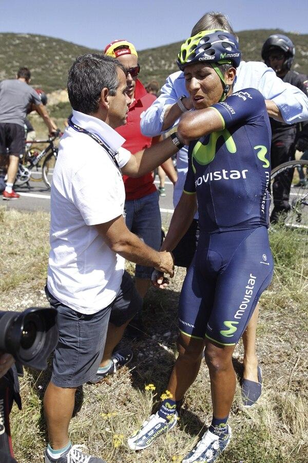 El colombiano Nairo Quintana abandonó la Vuelta a España en el transcurso de la undécima etapa tras sufrir una fractura en el hombro.