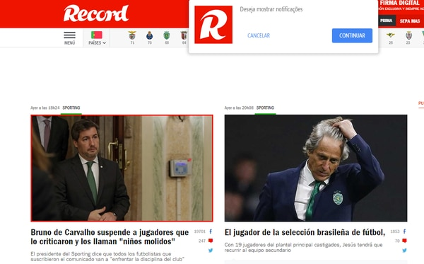 Así informa diario Récord de Portugal la situación.