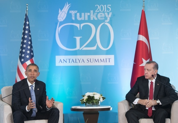 Los presidentes de EE.UU., Barack Obama, y de Turquía, Recep Tayyip Erdogan, se reunieron previo a la inauguración de la reunión del G20
