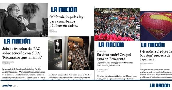 Así se verán los artículos de 'La Nación' en la nueva plataforma Instant Articles de Facebook.