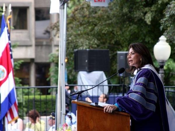 Este fue el último de los nueve discursos de Chinchilla en su gira por EUA, en ocasión del doctorado honoris causa en Georgetown. | PRESIDENCIA PARA LN