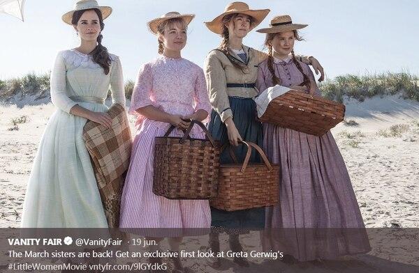 El elenco de 'Mujercitas' es de lujo. Emma Watson es Meg y Saoirse Ronan es Jo. Florence Pugh encarna a Ammy y Eliza Scanlen a Beth. Captura de pantalla, de Vanity Fair