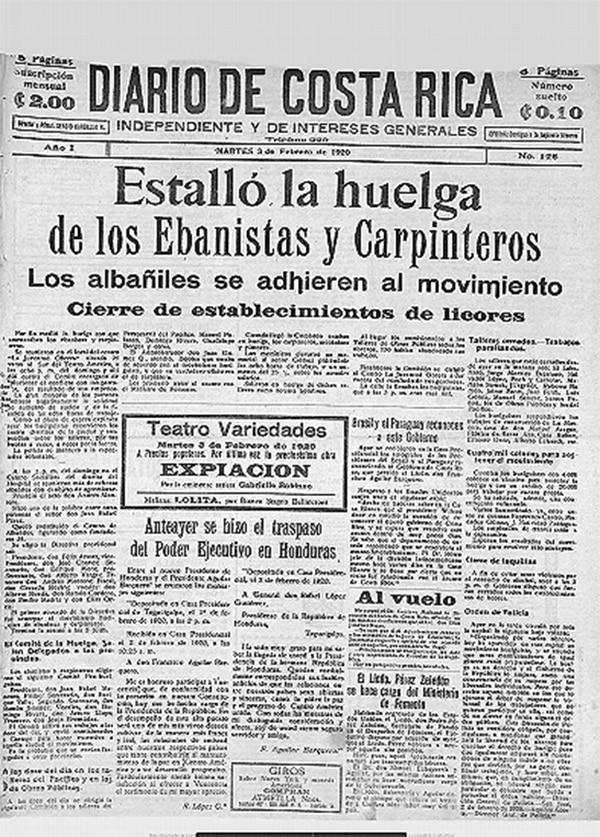 El 3 de febrero de 1920, el Diario de Costa Rica da cuenta del inicios de las huelgas en su portada. Las ediciones de este periódico se pueden consultar en la Biblioteca Nacional.
