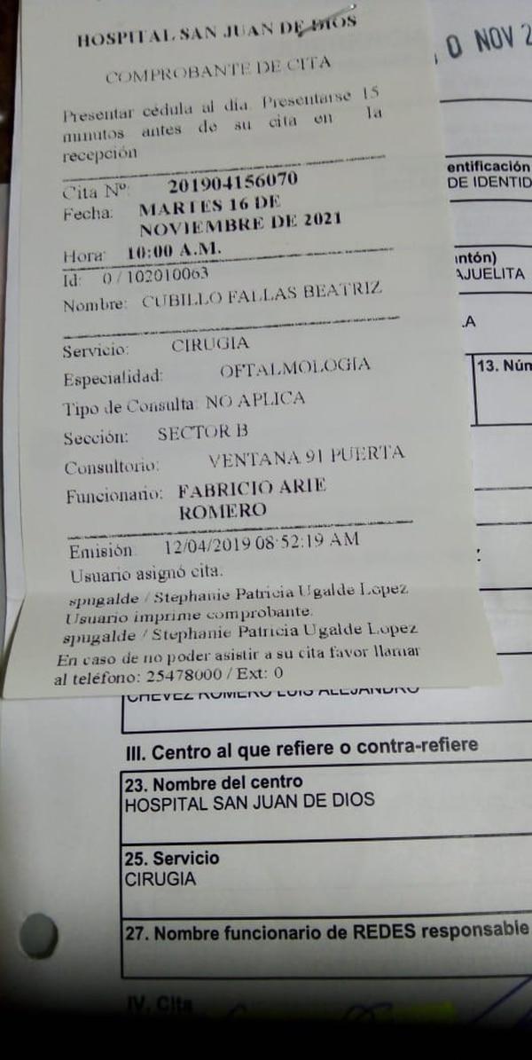 Cita en el 2021 para Beatriz Cubillo. El Hospital San Juan de Dios está revisando la posibilidad de adelantarle la operación. Foto: Cortesía