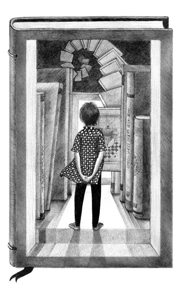 Dibujo con bolígrafo de Vicky Ramos para el libro Cuentos asépticos libres de moralina, de Alberto Pocasangre (Guatemala, Editorial Piedra Santa, 2017). Imagen: Cortesía de Vicky Ramos.