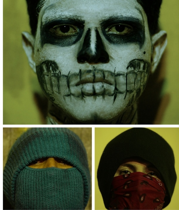 Los participantes utilizan máscaras o pasamontañas