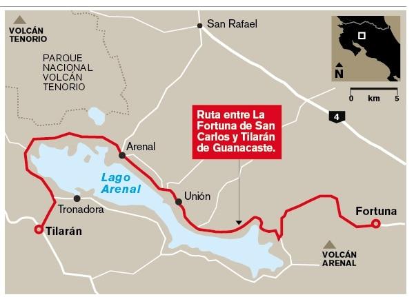 Ruta entre La Fortuna de San Carlos y Tilarán de Guanacaste